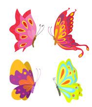 Cartoon Flying Butterflies Set...
