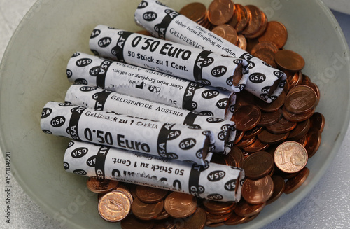 One Euro cent coins are seen at the Money Service Austria