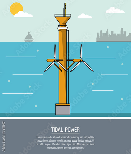 color sea landscape background tidal power plant with turbines vector illustration Wall mural