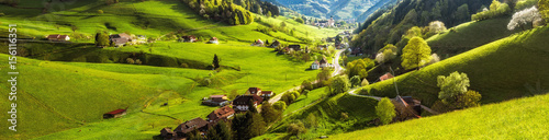 Scenic panoramic landscape of a picturesque mountain valley in spring. Scenic historic village with blossoming trees and traditional houses. Germany, Black Forest. Colourful travel background.