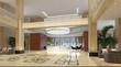 Interior of hotel reception hall 3D illustration