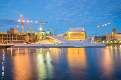 The Oslo Opera House at night in Norway