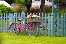 Old Vintage Bicycle With Basket Of Flowers In Baggage