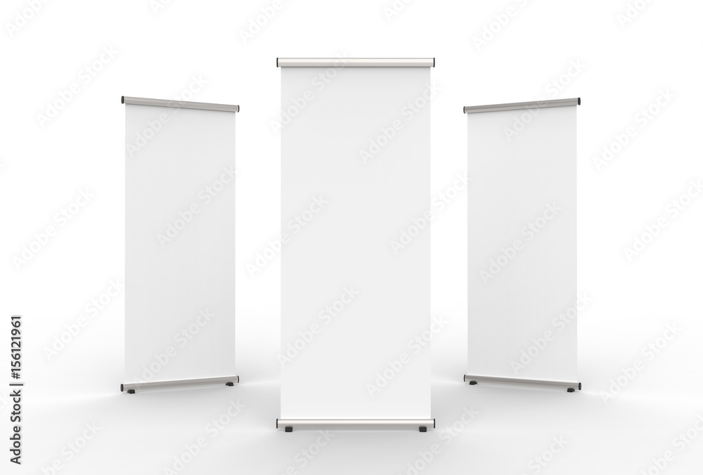 Fototapety, obrazy: Blank roll up banner 3 display view template. 3d illustrating.