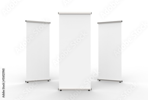 Blank roll up banner 3 display view template. 3d illustrating.