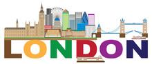 London Skyline Color Text Vect...