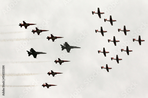 Switzerland's Patrouille Suisse in F-5E Tiger II aircrafts