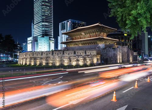 Seoul night traffic around Dongdaemun gate