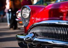 Red Retro Vintage Chrome Car D...