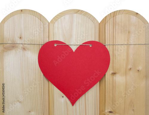 Herz Aus Papier An Einer Kordel Auf Holz Buy This Stock Photo And