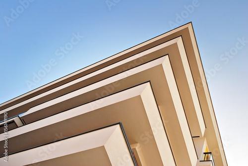 Modern apartment buildings exteriors. Architectural details of modern apartment building.
