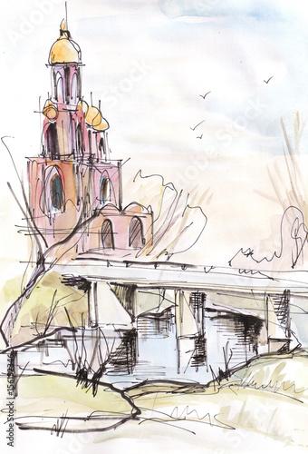 Spoed Foto op Canvas Wit Temple near bridge