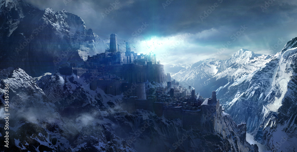 Fototapety, obrazy: Snow-capped mountains between the castle.