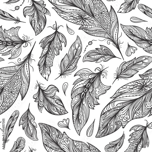 Fotografia  Zentangle Feather Vector Pattern