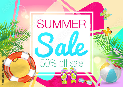 Fototapety, obrazy: Summer Sale Vector Background.