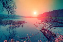 Wild Nature. Autumn Rural Landscape. Wilderness, Calm River At Sunrise. Misty Morning In Countryside