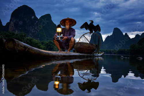 Canvas Prints Guilin Fisherman of Guilin, Li River and Karst mountains during the blue hour of dawn,Guangxi China