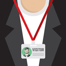Flat Design Visitor Pass Vecto...