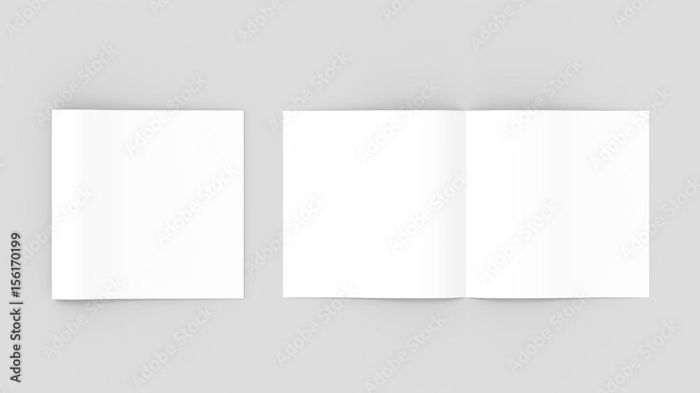 Fototapety, obrazy: Spuare bi-fold , half fold brochure mock up. 3D illustrating.