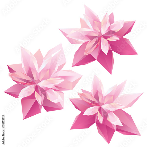 Crystal Pink flowers, polygon flowers, beautiful floral background for ads Canvas Print
