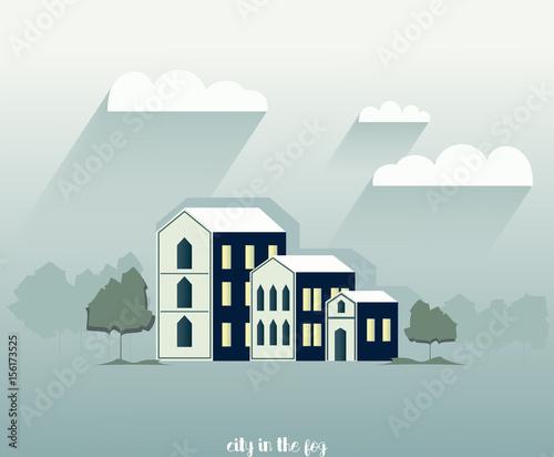 Foto op Canvas Lichtblauw Little town illustration. Paper design vector
