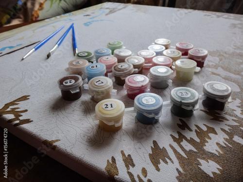Brushes and paint плакат