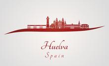 Huelva Skyline In Red