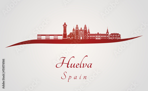 Huelva skyline in red