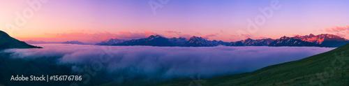 Foto op Aluminium Nachtblauw Sunset in the Caucasus mountains