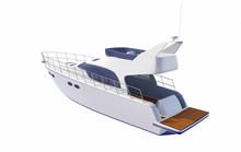 White Pleasure Motor Boat Isolated On White Background - 3D Rendering
