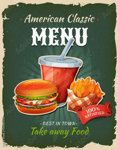 Plakat menu restauracji fast food kurczaka retro fast food