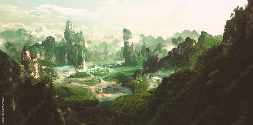 Fototapety, obrazy: Fantasy natural environment, 3D rendering.