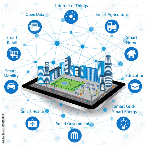 Fotografia  Smart city concept with different icon and elements