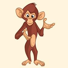 Cartoon Monkey Smiling. Vector...