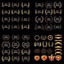 Best Award Vector Gold Award Laurel Wreath Set. Winner Label, Leaf Symbol Victory, Triumph And Success Illustration Set. Vector Medieval Golden Shields Laurel Wreaths And Badges Collection