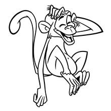 Cartoon Funny Chimpanzee Monke...