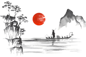 Fototapeta Japan Traditional japanese painting Sumi-e art Japan Traditional japanese painting Sumi-e art Man with boat