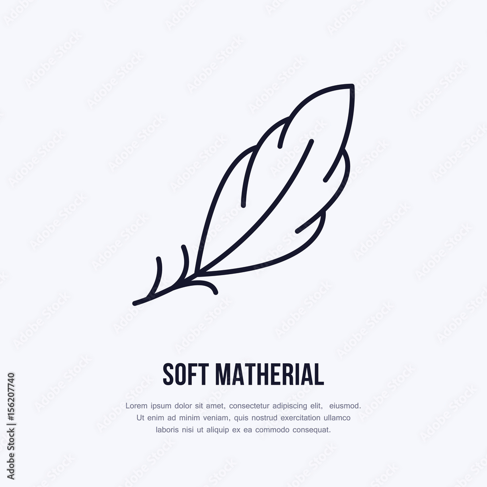 Fototapeta Feather flat line icon. Vector sign for soft, lightweight matherial property.