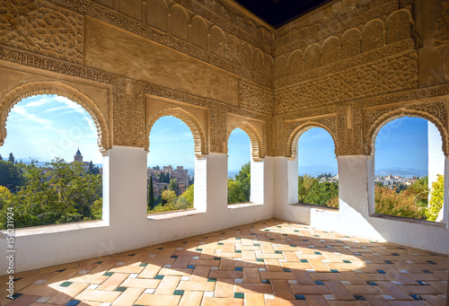 Summer terrace at Alhambra palace. Granada, Andalusia, Spain Canvas Print