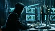 Masked Hacktivist Organizes Massive Data Breach Attack on Corporate Servers. They're in Underground Secret Location Surrounded by Displays and Cables. Shot on RED EPIC-W 8K Helium Cinema Camera.