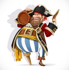 Old pirate with a wooden leg holding a keg of rum and pistol isolated on a wh...