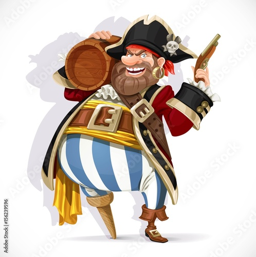 Valokuva  Old pirate with a wooden leg holding a keg of rum and pistol isolated on a white