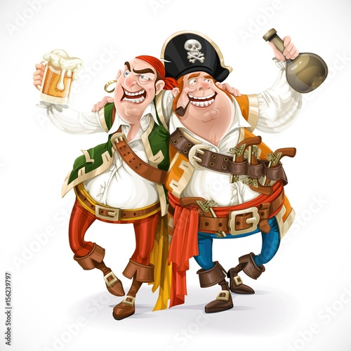 Two drunk pirates are drinking holding each other isolated on wh Wallpaper Mural