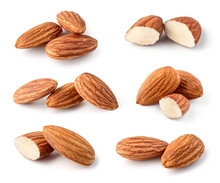 Almond Isolated. Nuts On White...