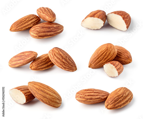 Almond isolated. Nuts on white background. Collection. Full depth of field.
