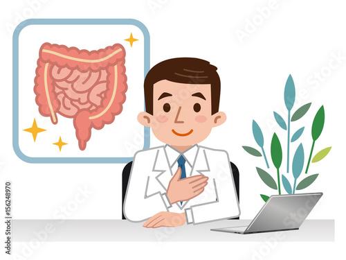 大腸と小腸の説明をする医師 Wallpaper Mural