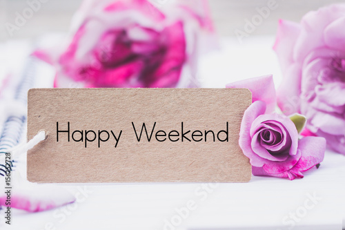 Recess Fitting Orchid Writing happy weekend on card