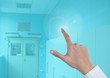 Hand touching blue Medical Doctor background