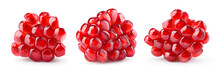 Pomegranate. Fresh Raw Peeled Fruit. Piece Of Pomegranate Isolated On White Background. With Clipping Path. Full Depth Of Field. Collection.