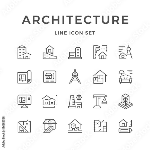 Set line icons of architecture Fotomurales
